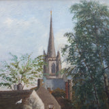 Victorian English Landscape Oil Painting St John's Church Huddersfield
