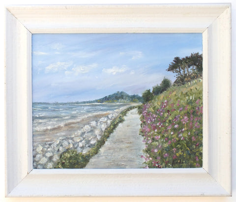 St Austell Bay Cornwall Beach Painting English Seascape Original oil painting Framed