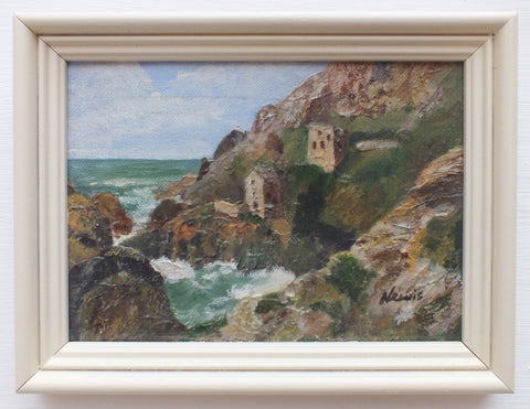 Coastal Seascape Signed Framed Miniature Oil Painting, Bodinnick, Cornwall
