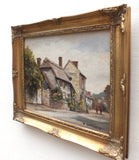 English Thatched Cottage, Amberley, Sussex Oil Painting Signed Framed