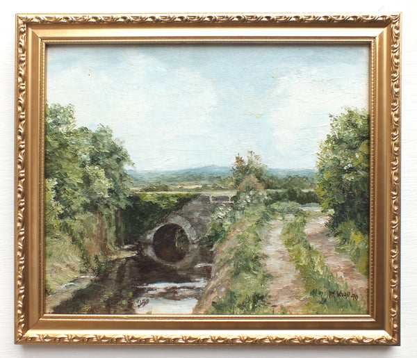 Agrarian Landscape Oil Painting Framed Signed