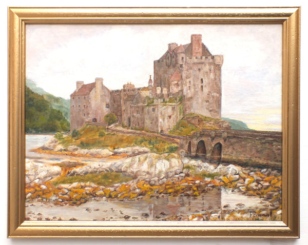 Eileen Donan Castle Oil Painting Scottish Landscape Framed Signed