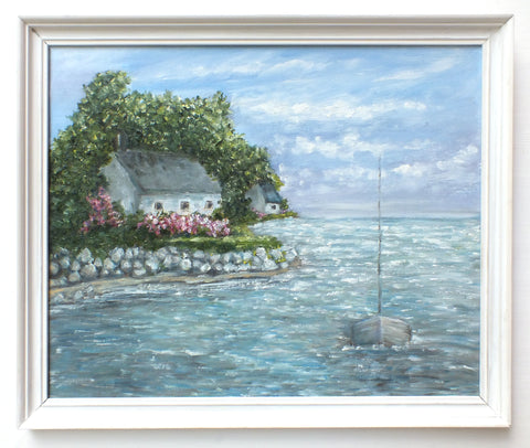 Coastal Seascape Oil Painting Ocean Wall Art Sailing Boat Framed