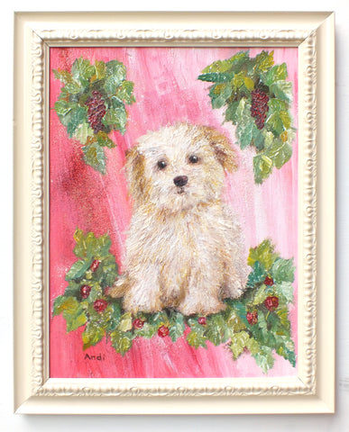 Havanese Puppy Original Framed Dog Painting by Andi Lucas