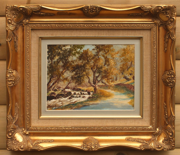 Forest Stream Landscape Oil Painting Framed Signed