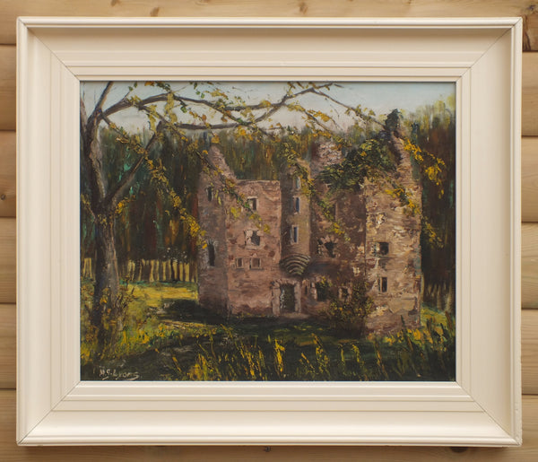 Irish Castle in Ruins Oil Painting Forest Landscape Framed Signed