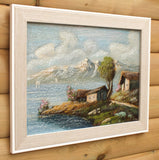 Lakeside Cottage Landscape Original Oil Painting Framed, Signed