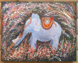 Elephant Painting Acrylic on Wood, Glitte, Framed Signed