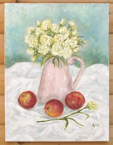 Lisianthus and Apples Still Life Oil Painting Signed Original
