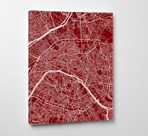 Paris City Street Map Print Feature Wall Art Poster