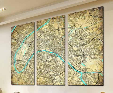 Paris Street Map 3 Panel Canvas Wall Map