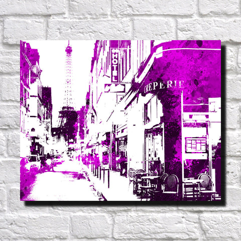 Paris Street Scene Print Feature Wall Art City Landscape Poster