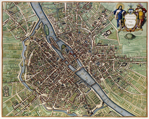 Paris Street Map Print Vintage Poster Old Map as Art - OnTrendAndFab