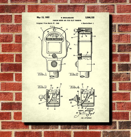 Car Parking Meter Patent Print Parking Enforcement Poster