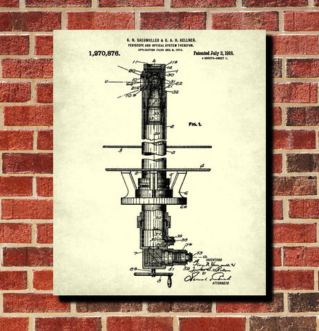 Periscope Patent Print Submarine Blueprint Nautical Maritime Poster