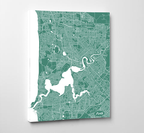 Perth City Street Map Print Feature Wall Art Poster