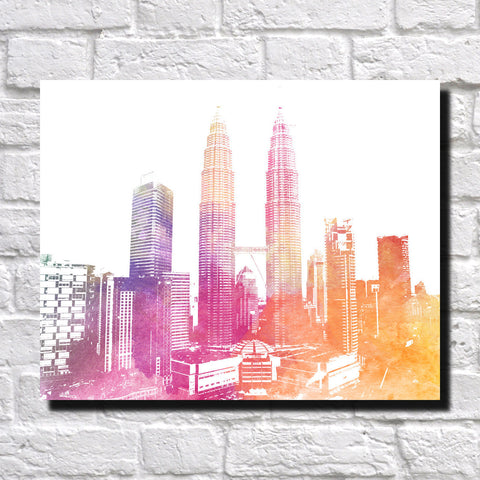 Petronas Towers Malaysia Print City Landscape Poster Feature Wall Art