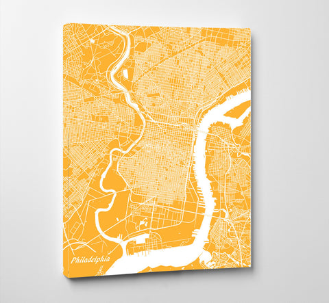 Philadelphia City Street Map Print Feature Wall Art Poster