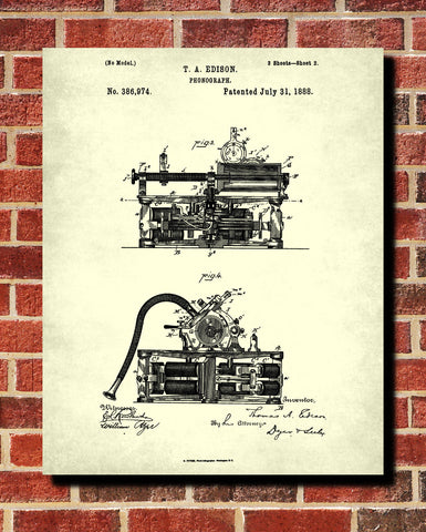 Phonograph Patent Print Edison Blueprint Vintage Invention Poster - OnTrendAndFab