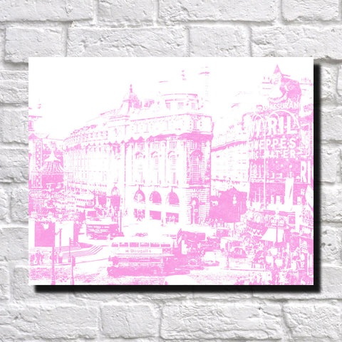 London Piccadilly Circus City Skyline Print Landscape Poster Feature Wall Art