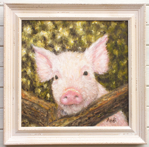Pink Pig Original Framed Farmyard Painting by Andi Lucas