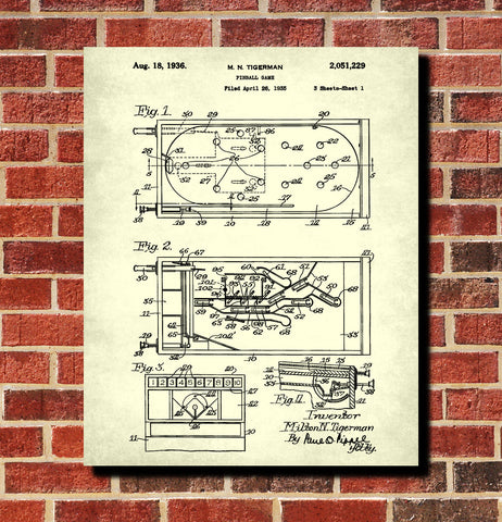 Pinball Machine Patent Print Bar Blueprint Man Cave Poster