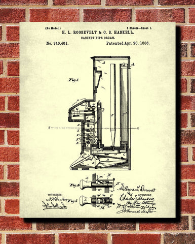 Pipe Organ Patent Print Musical Instrument Wall Art Music Room Poster - OnTrendAndFab