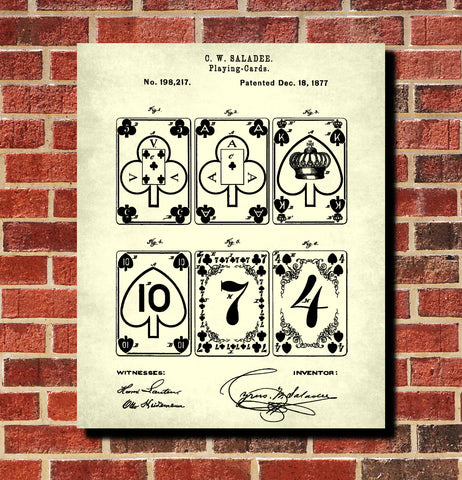 Playing Cards Patent Poster Gambling Art, Casino Print
