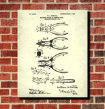 Pliers Patent Print Hand Tools Blueprint Workshop Poster