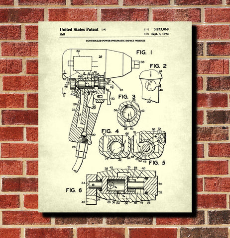 Pneumatic Wrench Patent Print Garage Blueprint Workshop Poster