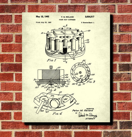 Poker Chip Dispenser Patent Poster Casino Print Gambling Art