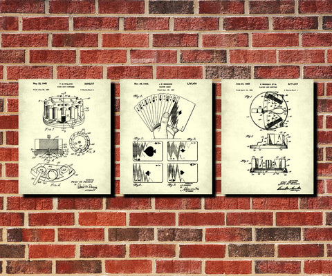 Poker Patent Prints Set 3 Casino Posters Playing Cards