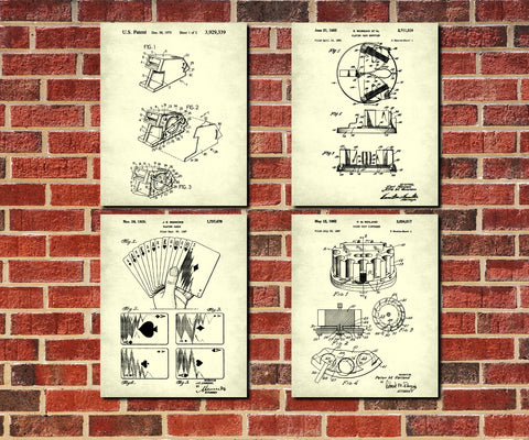 Poker Patent Prints Set 4 Casino Posters Playing Cards