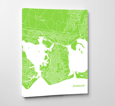 Portsmouth City Street Map Print Modern Art Poster