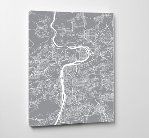 Prague, Czech Republic City Street Map Print Feature Wall Art Poster