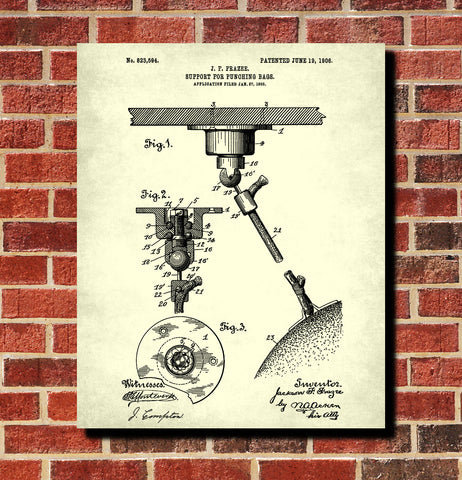 Boxing Punch Bag Patent Print Sports Wall Art Poster