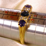 Antique Sapphire Diamond Engagement Ring Ring 18ct Gold - OntrendAndFab