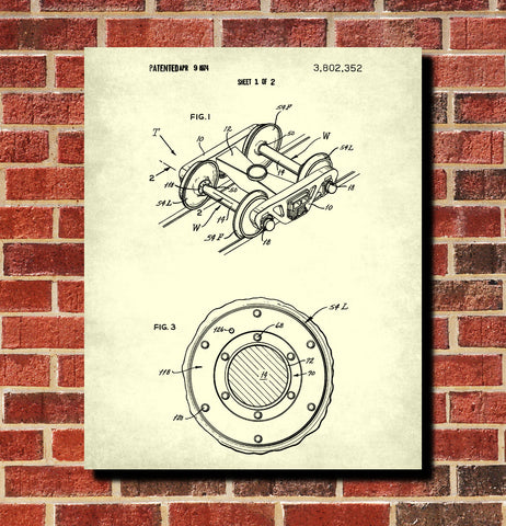 Train Axle Set Patent Print Railway Poster Railroad Decor