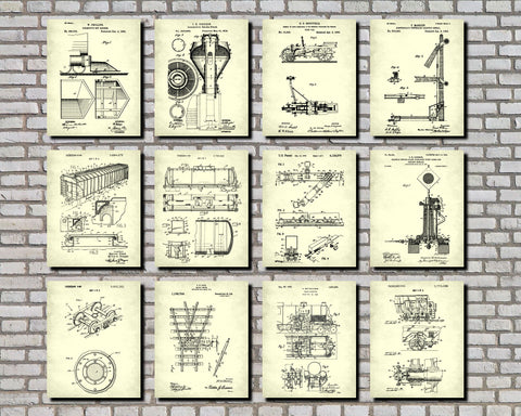 Train Wall Art Set 9 Railway Posters Railroad Patent Prints