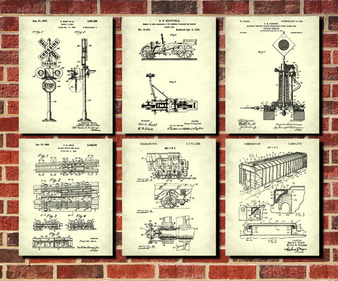Train Wall Art Set 6 Railway Posters Railroad Patent Prints