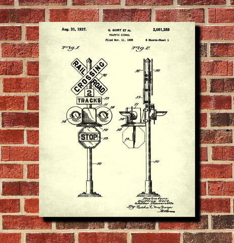 Railway Sign Patent Print Train Poster Railroad Crossing