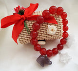 AAA 10mm Red Jade Stretch Bracelet Hand Carved Quartz Bears and Star - OnTrendAndFab