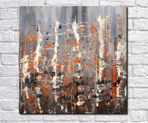 Original Painting James Lucas, Relinquished Relics Cityscape Abstract