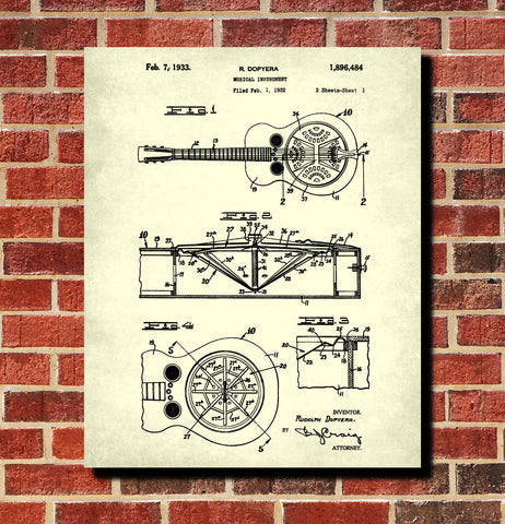 Resonator Guitar Blueprint Musical Instrument Poster Patent Print