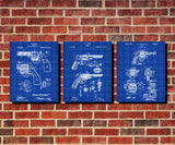 Revolver Patent Posters Firearm Art Weapons Set 3 Prints - OnTrendAndFab