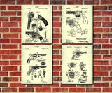 Revolver Patent Posters Firearm Art Weapons Set 4 Prints - OnTrendAndFab