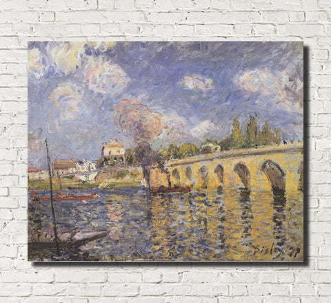 Alfred Sisley Fine Art Print River Steamboat and Bridge Impressionist Painting