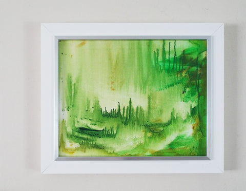 Framed Abstract Landscape Painting Original Art Tropical Forest