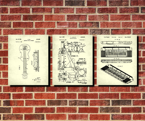 Rock Band Wall Art Posters Music Patent Prints