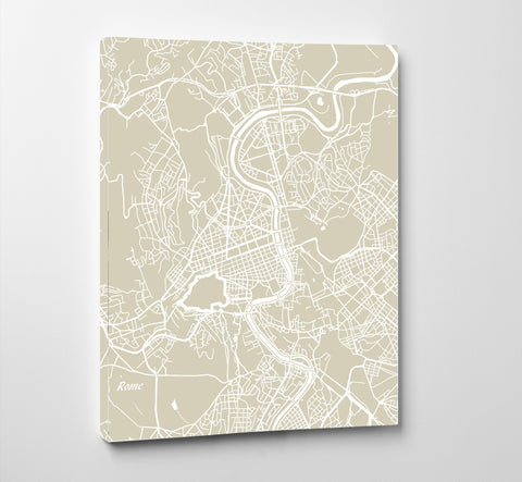 Rome City Street Map Print Feature Wall Art Poster